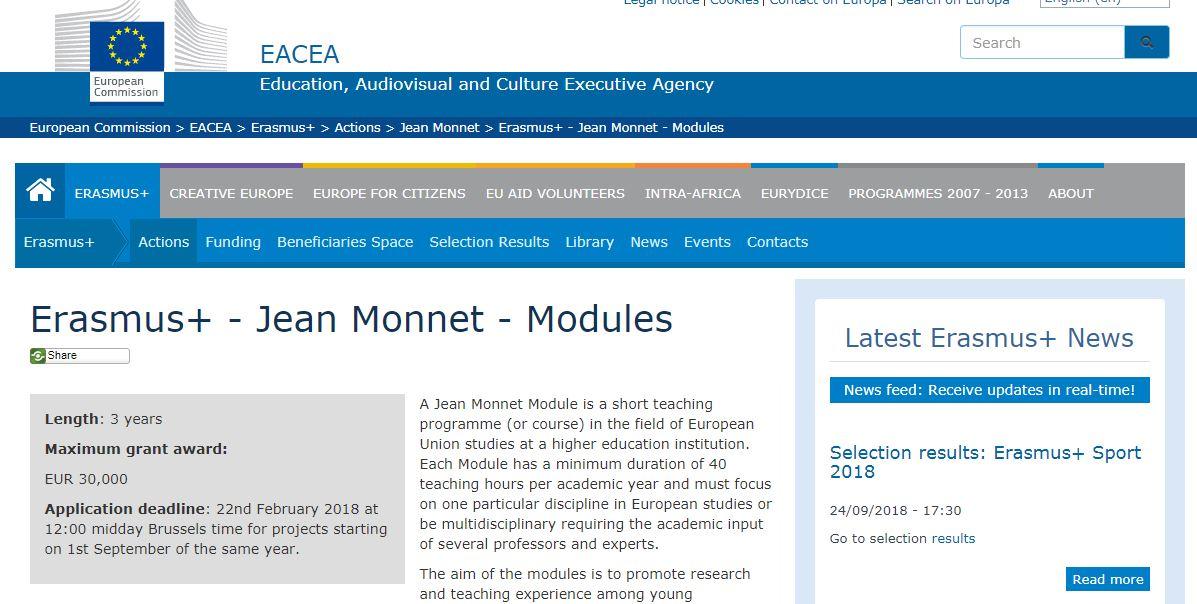 Programi Erasmus+ Jean Monnet 2018